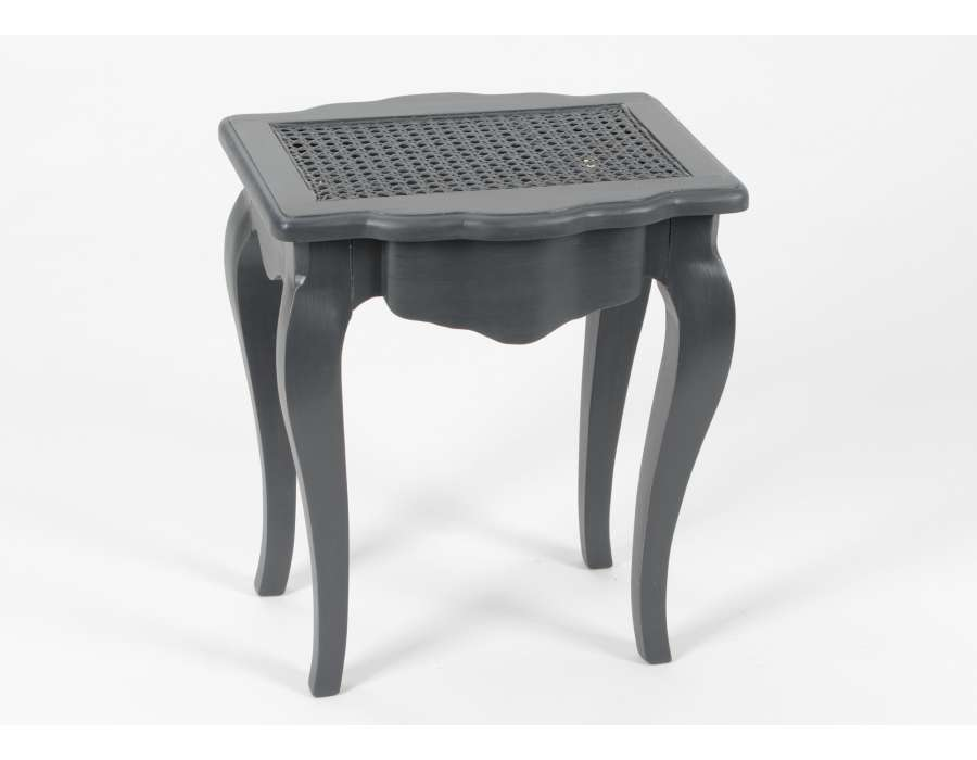 tabouret de coiffeuse gris assise cannee. Black Bedroom Furniture Sets. Home Design Ideas