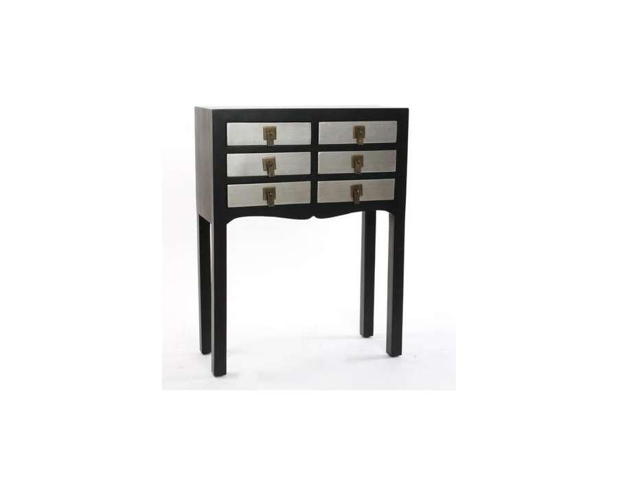 petite console chinoise noire et argent 6 tiroirs. Black Bedroom Furniture Sets. Home Design Ideas