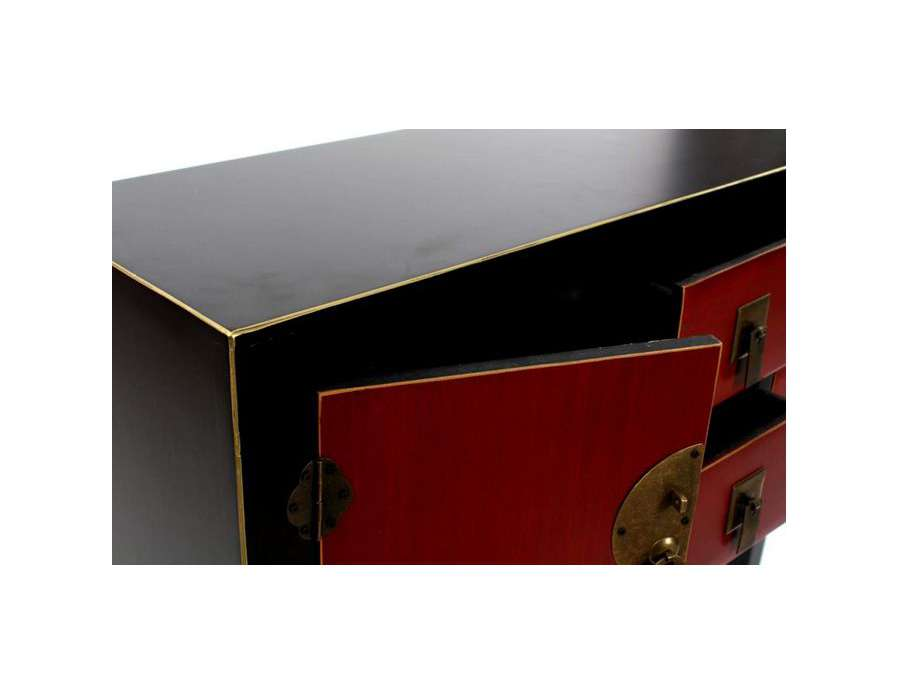 console japonaise noire rouge et dor e meuble chinois. Black Bedroom Furniture Sets. Home Design Ideas