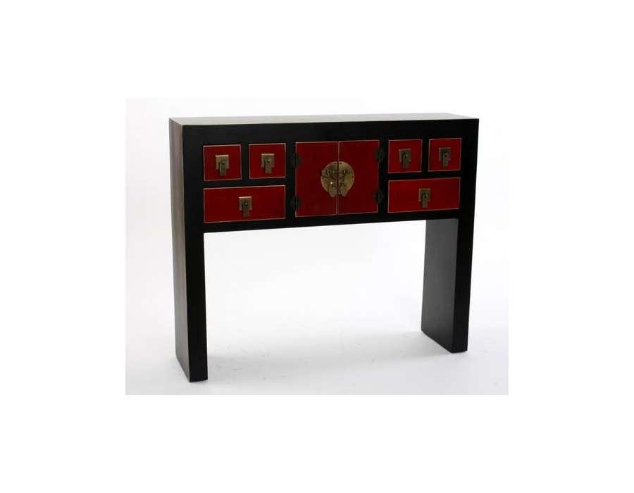 grande console japonaise noire rouge et dor e. Black Bedroom Furniture Sets. Home Design Ideas