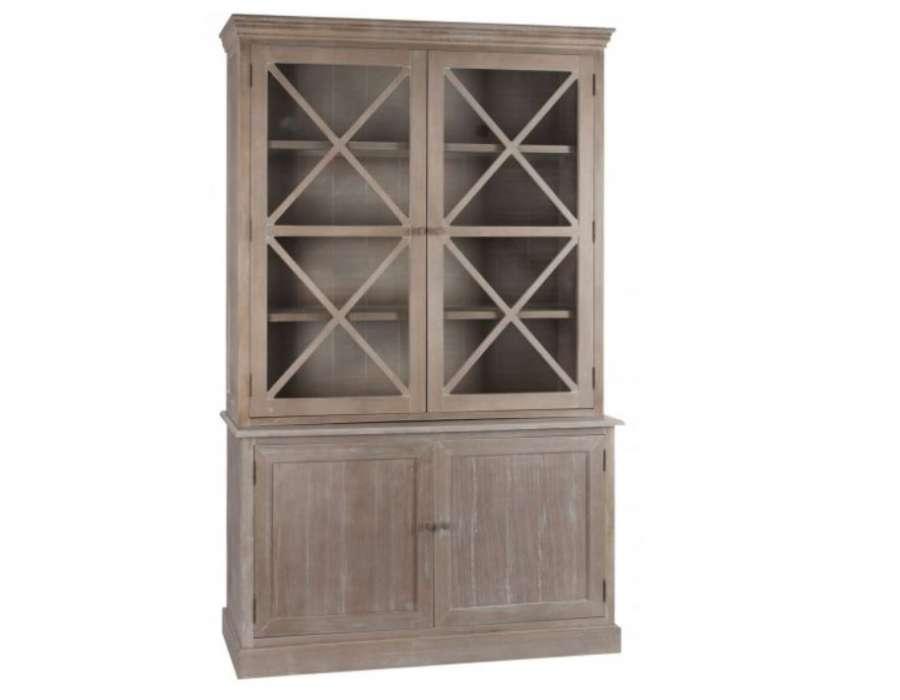 Vaisselier bois cérusé 2 portes vitrées