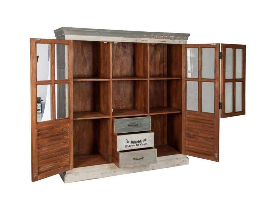 grand meuble biblioth que bois patin avec casiers pas chere. Black Bedroom Furniture Sets. Home Design Ideas