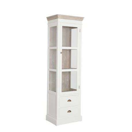 meuble vitrine blanc et bois c rus avec porte vitr e. Black Bedroom Furniture Sets. Home Design Ideas