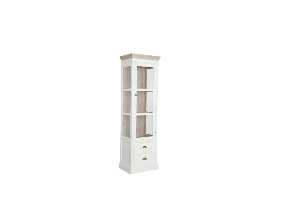 Meuble vitrine blanc et bois c rus avec porte vitr e for Meuble vitrine une porte