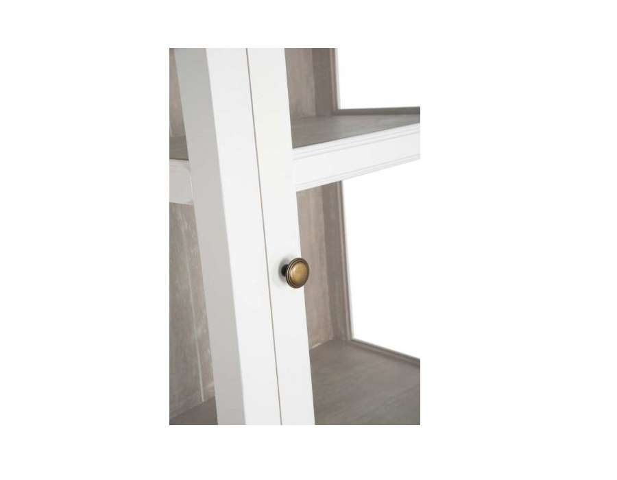 Meuble vitrine blanc et bois c rus avec porte vitr e - Meuble bois et blanc ...