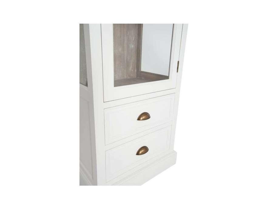Meuble vitrine blanc et bois c rus avec porte vitr e - Meuble tv avec vitre ...