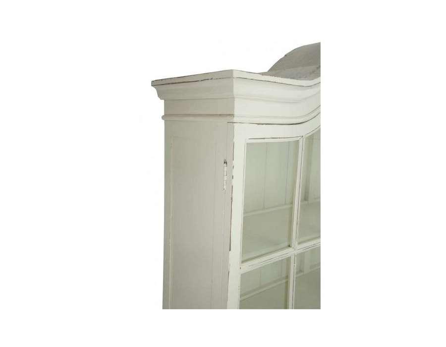 Vaisselier ivoire vitrine patinée style italien