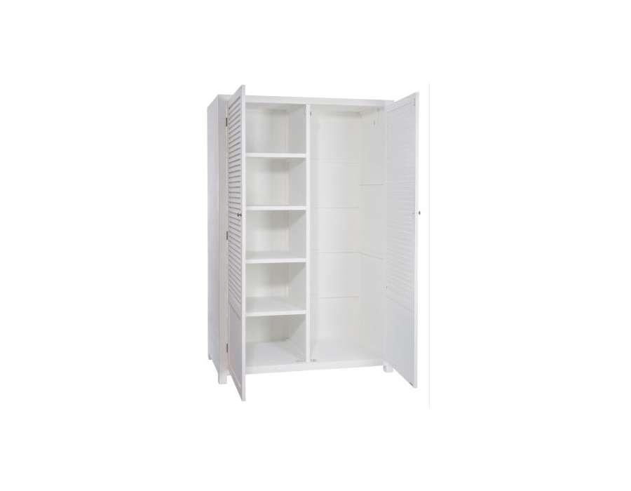 Grande armoire blanche de chambre avec penderie for Meuble porte persienne