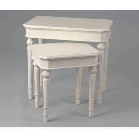 Table gigogne blanche patin es des meubles amadeus for Table gigogne blanche