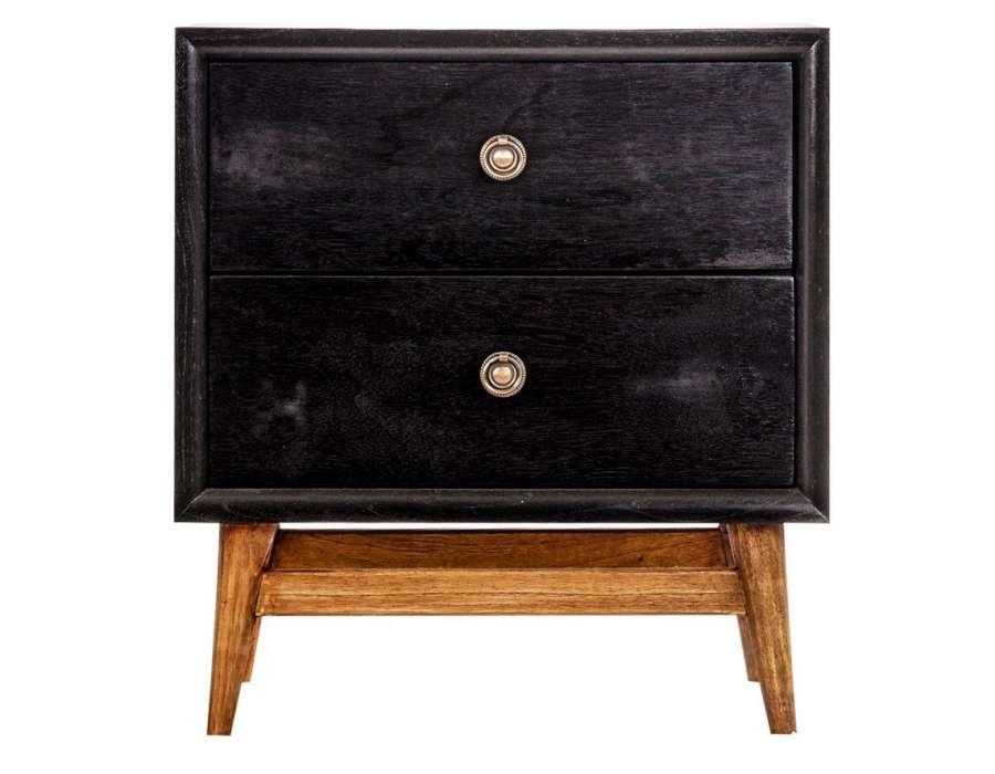 Table de chevet retro noire et bois vical home - Table chevet noire ...