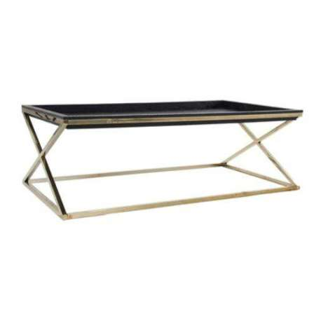 table basse plateau noir design dorée chic -> Table Basse Simili Cuir