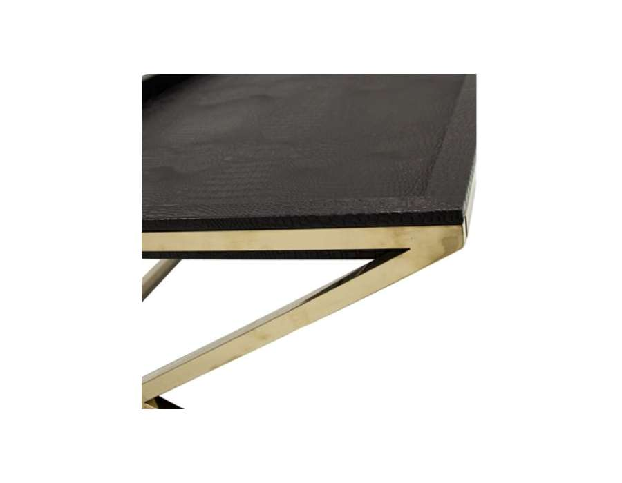 Table basse plateau noir design dor e chic - Table basse simili cuir ...