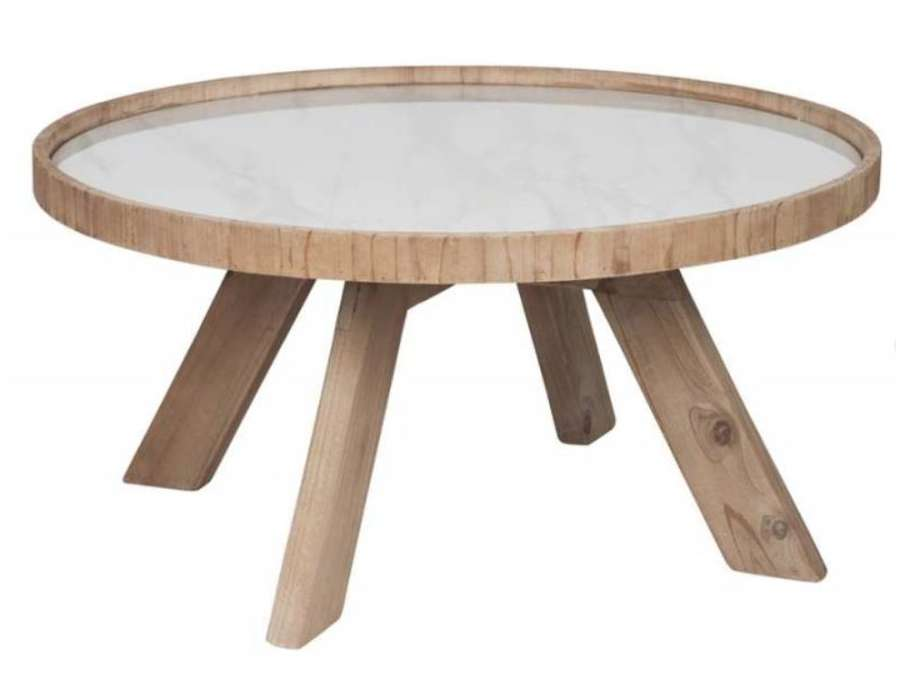 table basse ronde en bois avec plateau ceramique jolipa. Black Bedroom Furniture Sets. Home Design Ideas