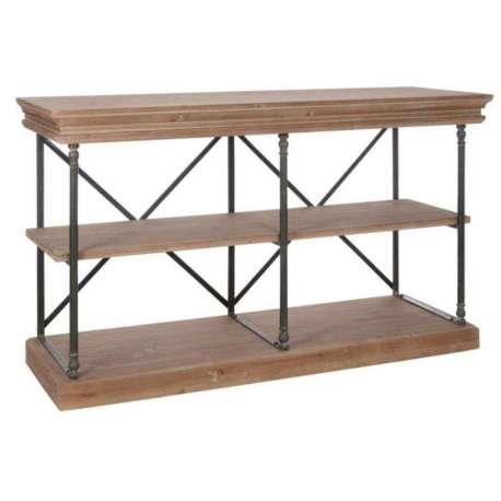 Table de drapier industriel , console drapier métal bois