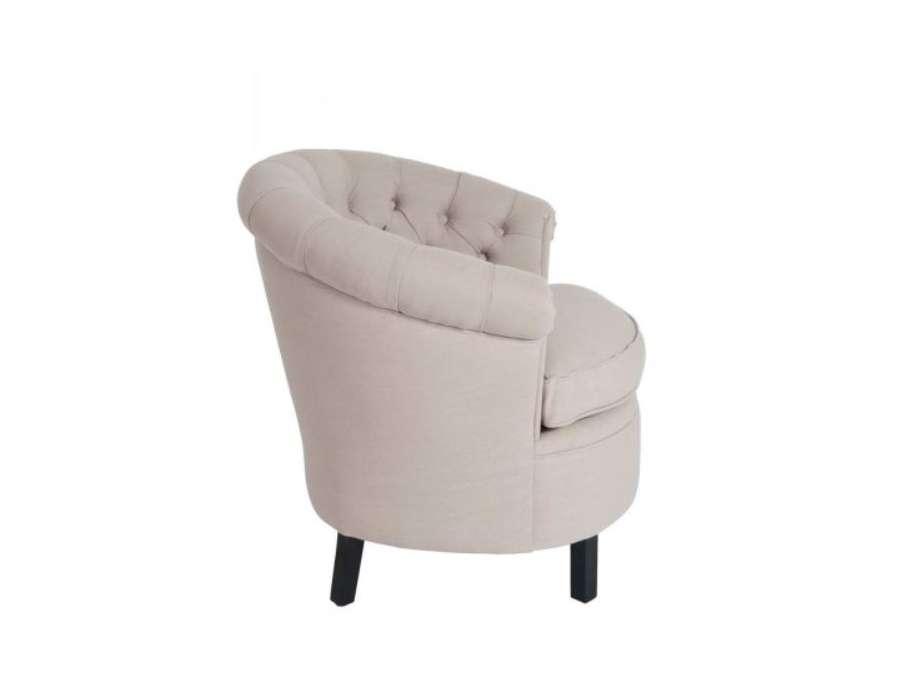 Petit fauteuil rond capitonné lin