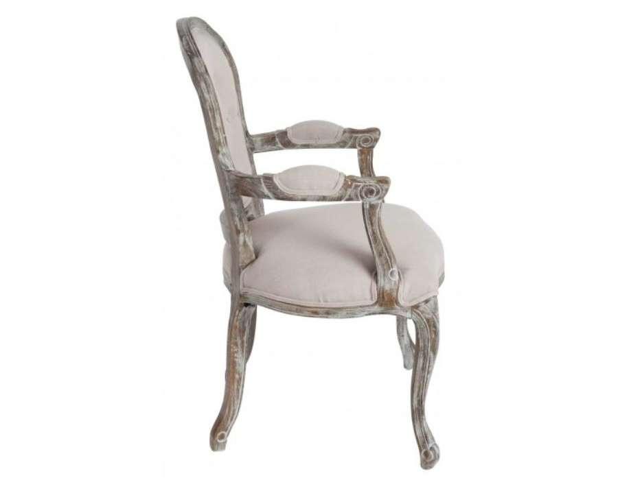 Fauteuil Louis XV chêne cérusé