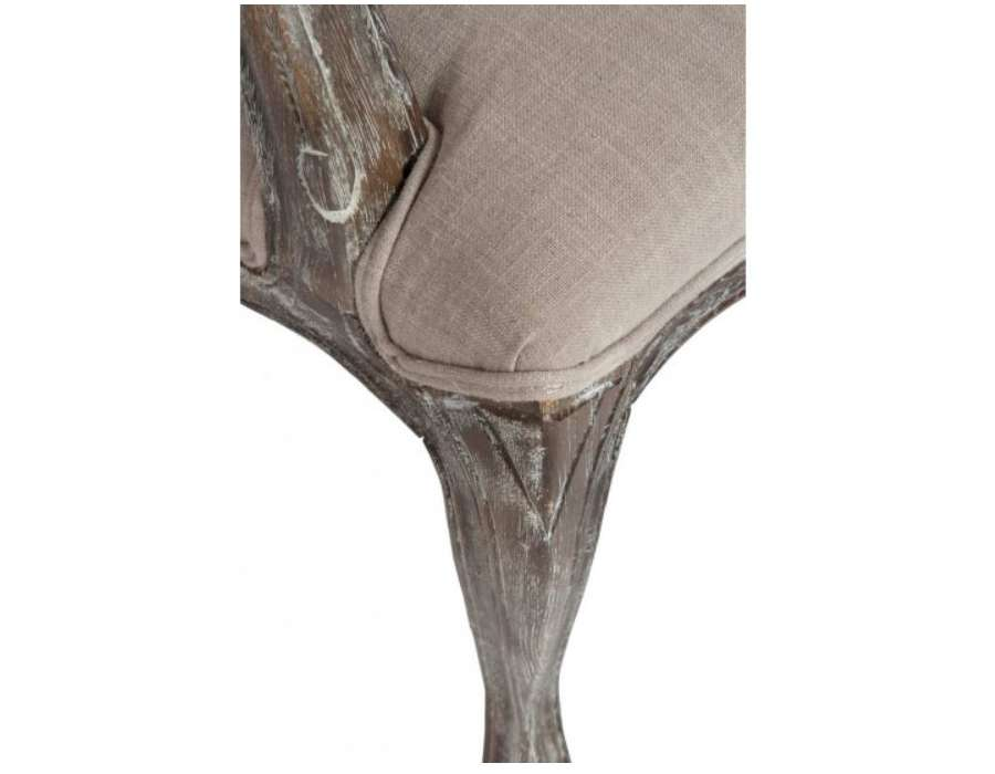 Fauteuil Louis XV chêne cérusé taupe
