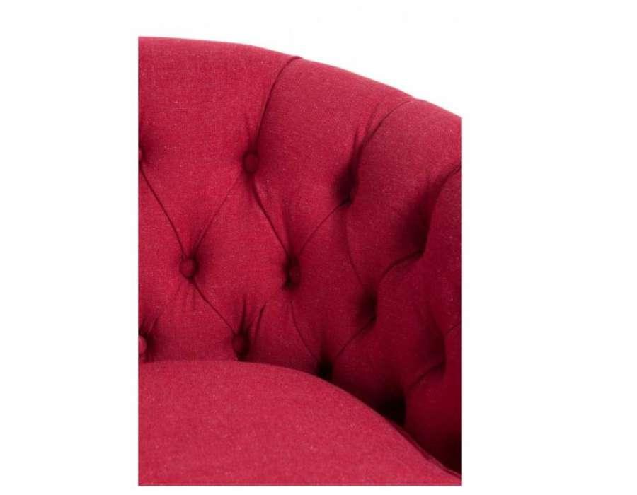 Petit fauteuil rond capitonné rouge