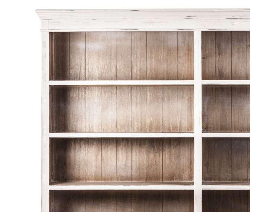 Grande bibliothèque blanc patiné