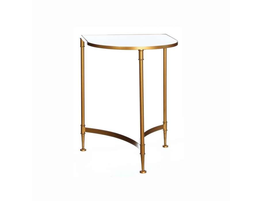 Bout de canap demi lune verre et or design for Table bout de canape design