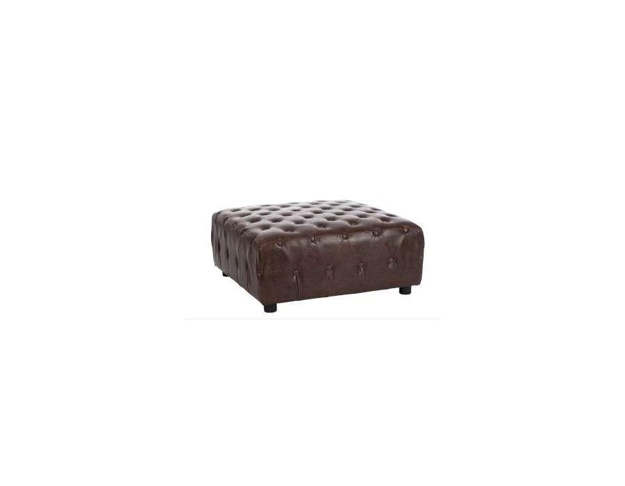 grand pouf capitonné vintage ou table salon vintage -> Table Basse Simili Cuir