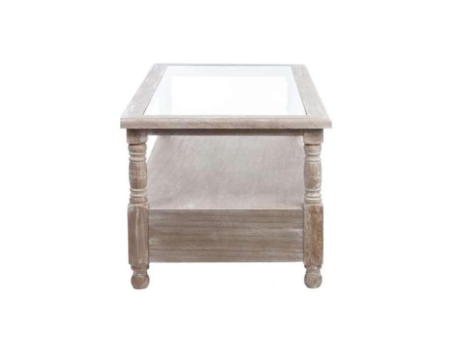 Table basse bois c rus rectangulaire 2 tiroris pas chere - Table en verre pas chere ...