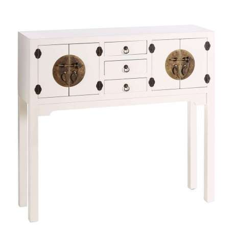 Console chinoise blanche 4 portes