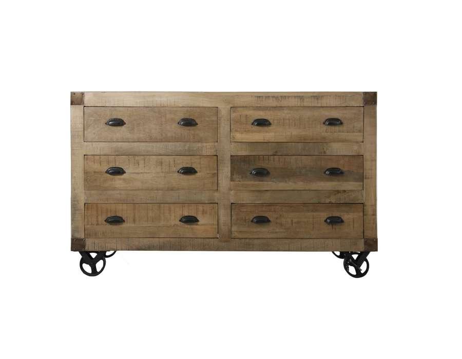 buffet en bois sur roues avec tiroirs style industriel. Black Bedroom Furniture Sets. Home Design Ideas