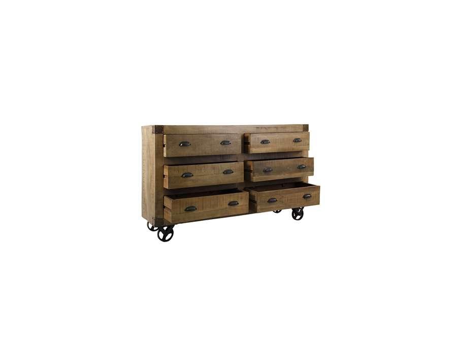 Buffet en bois sur roues avec tiroirs style industriel for Buffet salon industriel