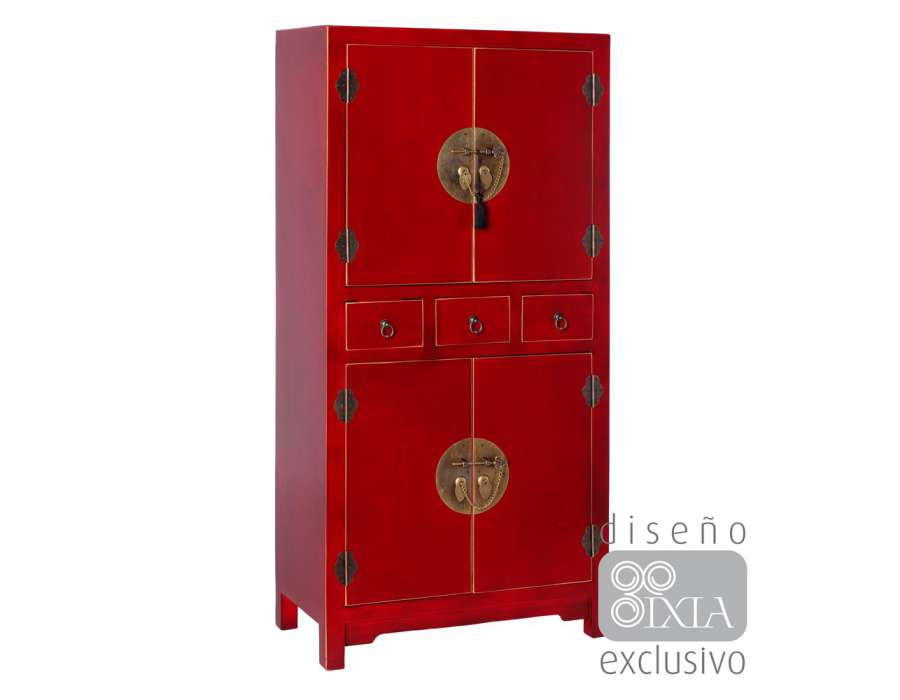 armoire rouge style chinois pour une chambre. Black Bedroom Furniture Sets. Home Design Ideas