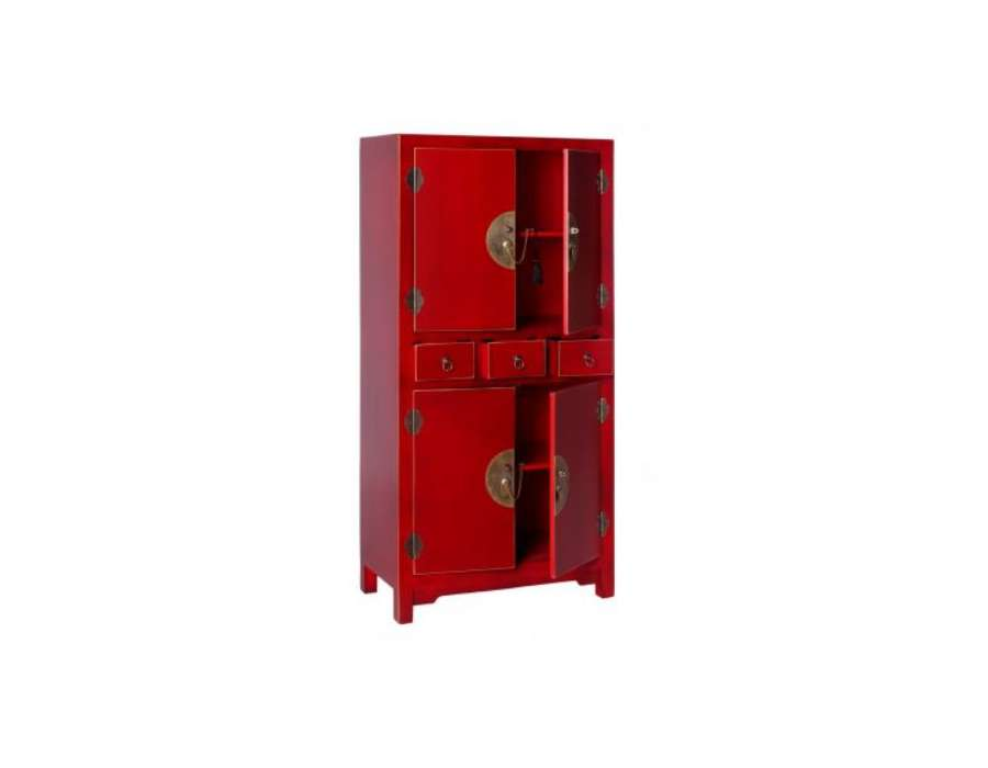 Armoire chinoise 4 portes rouge