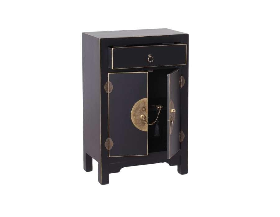 Petit meuble de rangement chinois noir meuble chinois for Meuble bas chinois