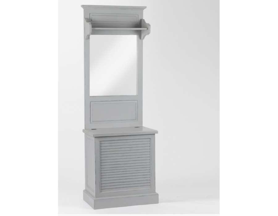 Grand meuble entr e gris en bois avec coffre amadeus - Meuble d entre ...