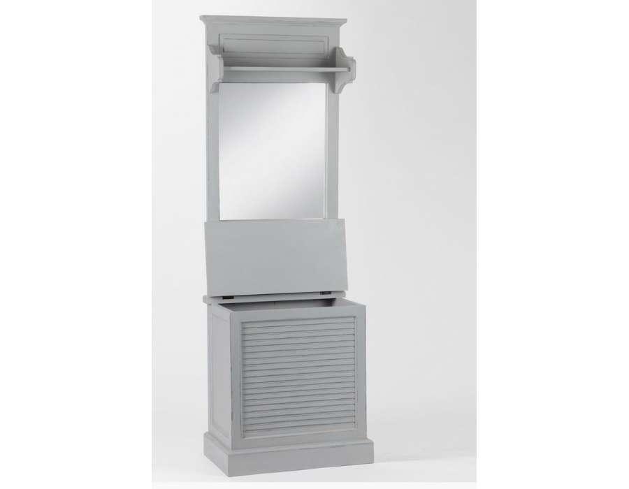 grand meuble entr e gris en bois avec coffre amadeus. Black Bedroom Furniture Sets. Home Design Ideas