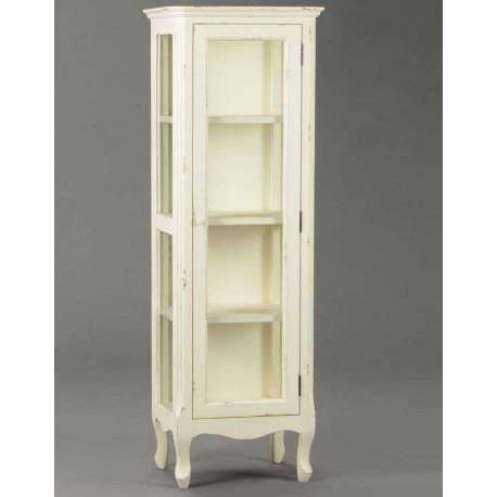 meuble vitrine blanc vieillie en verre avec tag re romantique pas chere. Black Bedroom Furniture Sets. Home Design Ideas
