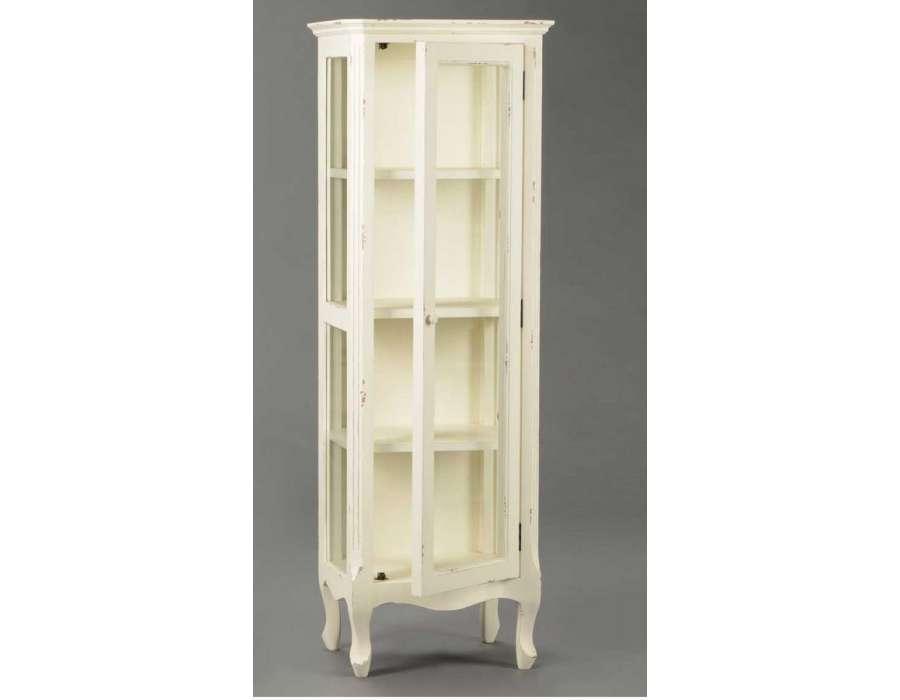 meuble vitrine blanc vieillie en verre avec tag re romantique pas chere
