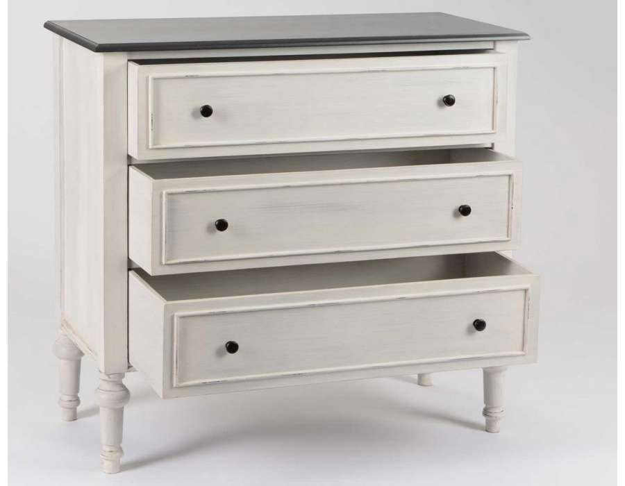 Commode grise 3 tiroirs Heritage