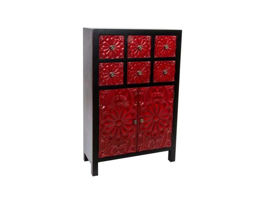Meuble de rangement chinois laqu rouge - Meuble rangement noir laque ...