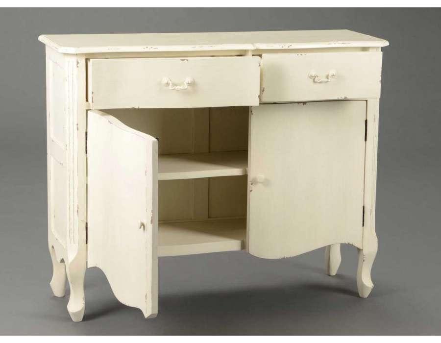 Buffet bois blanc vieilli buffet portes tiroirs blanc - Buffet bois blanc vieilli ...