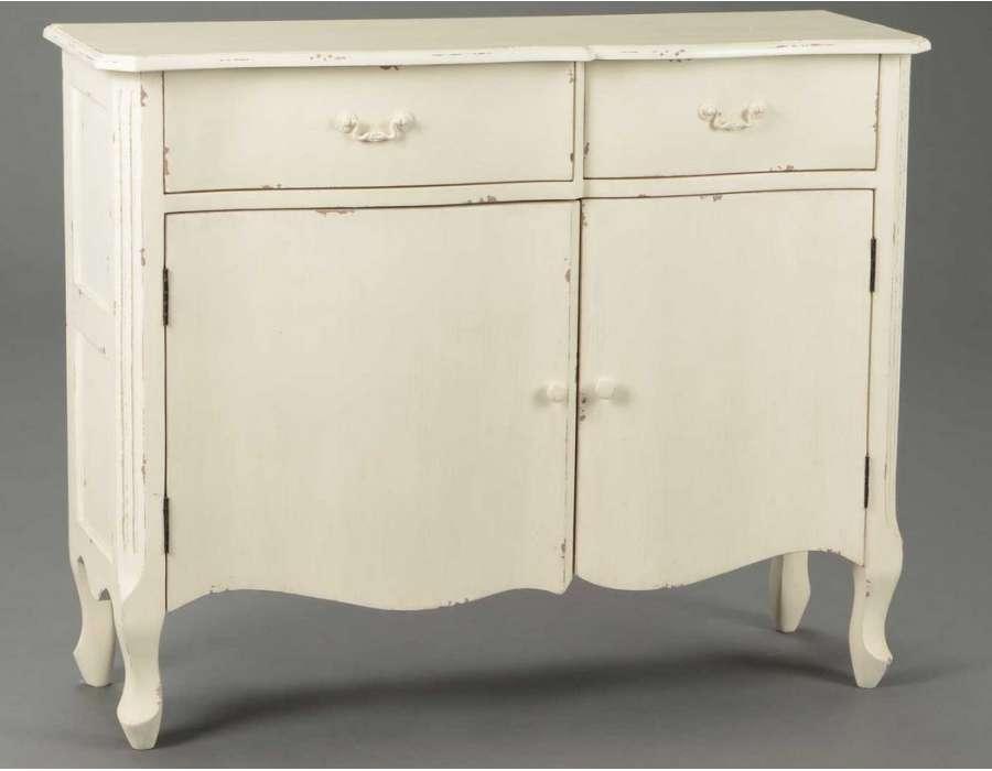 Buffet romantique en bois avec deux portes amadeus - Buffet bois blanc vieilli ...