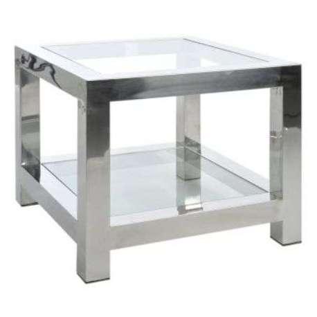 bout de canap verre et acier chrom jolipa. Black Bedroom Furniture Sets. Home Design Ideas