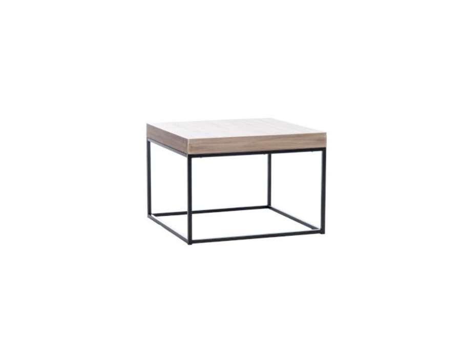 bout de canap moderne bois et m tal noir. Black Bedroom Furniture Sets. Home Design Ideas