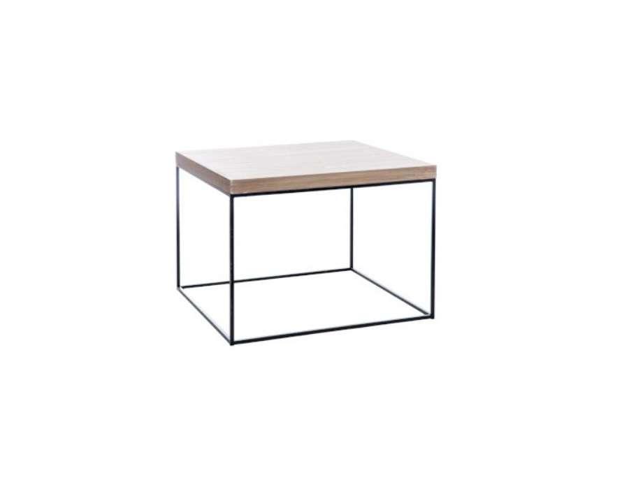 Bout de canapé carré bois et métal noir