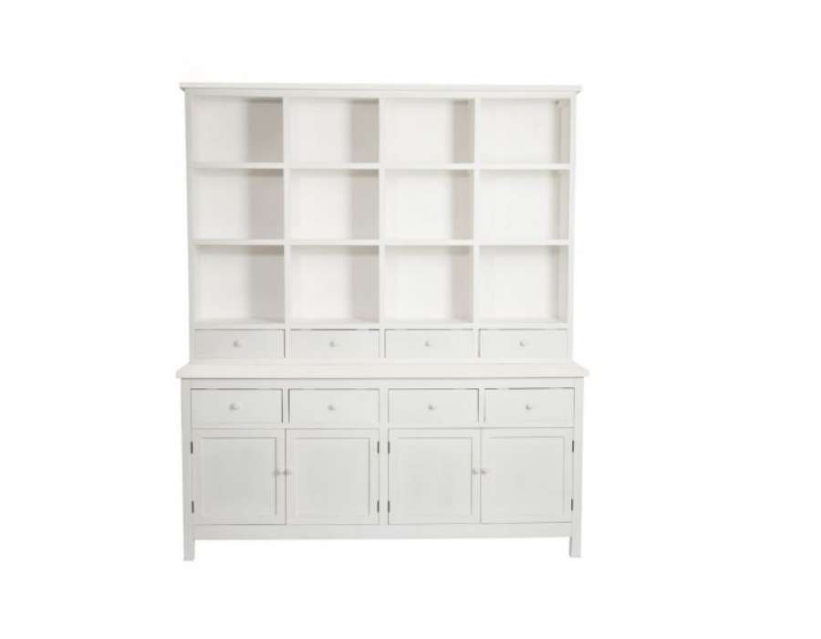 grand meuble biblioth que bois blanc avec placards pas chere. Black Bedroom Furniture Sets. Home Design Ideas