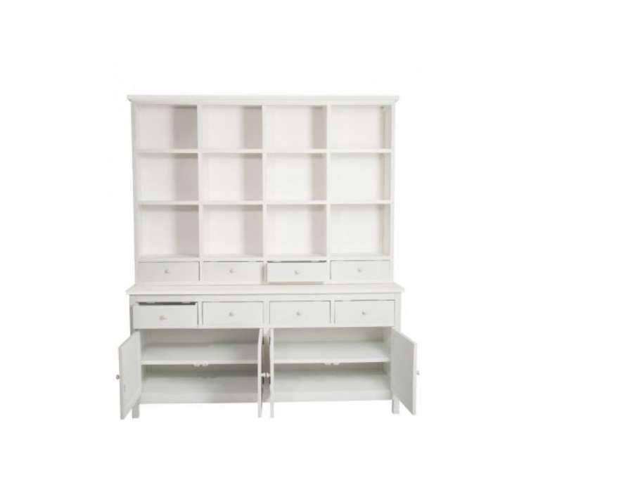 Grande bibliothèque bois blanc et bois Jolipa