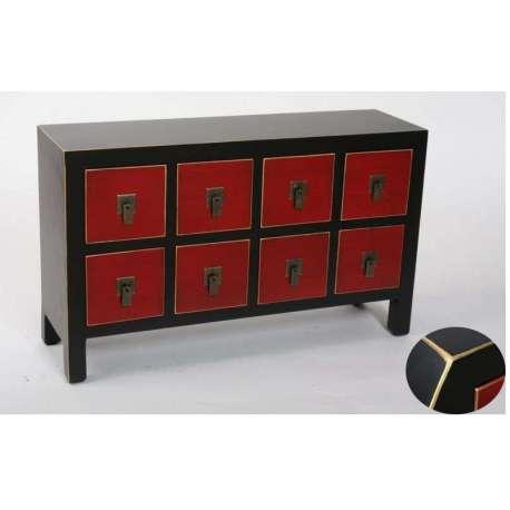Petit meuble de rangement bas chinois rouge et noir for Meuble chinois rouge