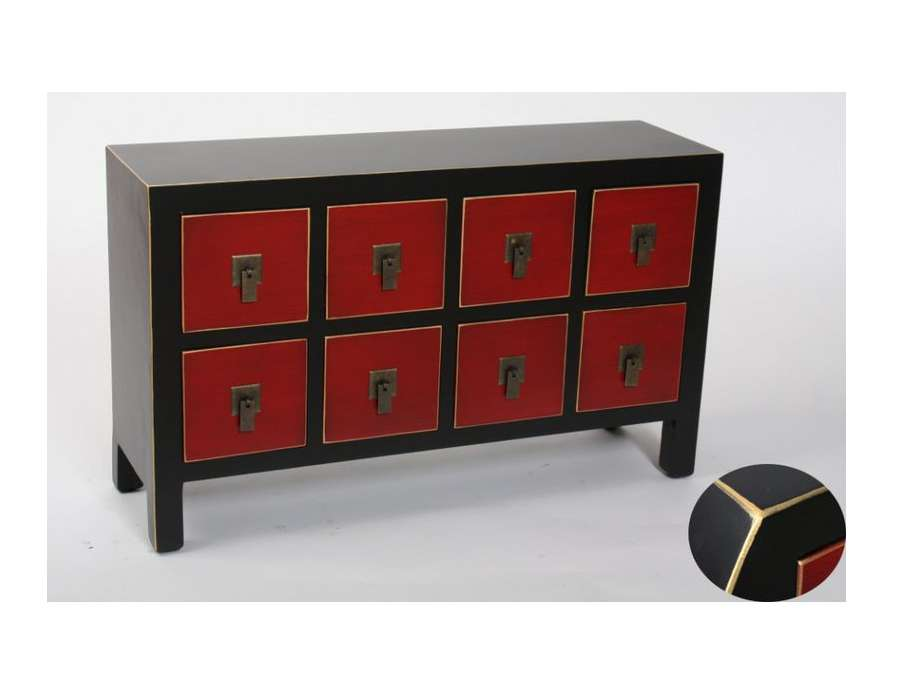 petit meuble de rangement bas chinois rouge et noir. Black Bedroom Furniture Sets. Home Design Ideas