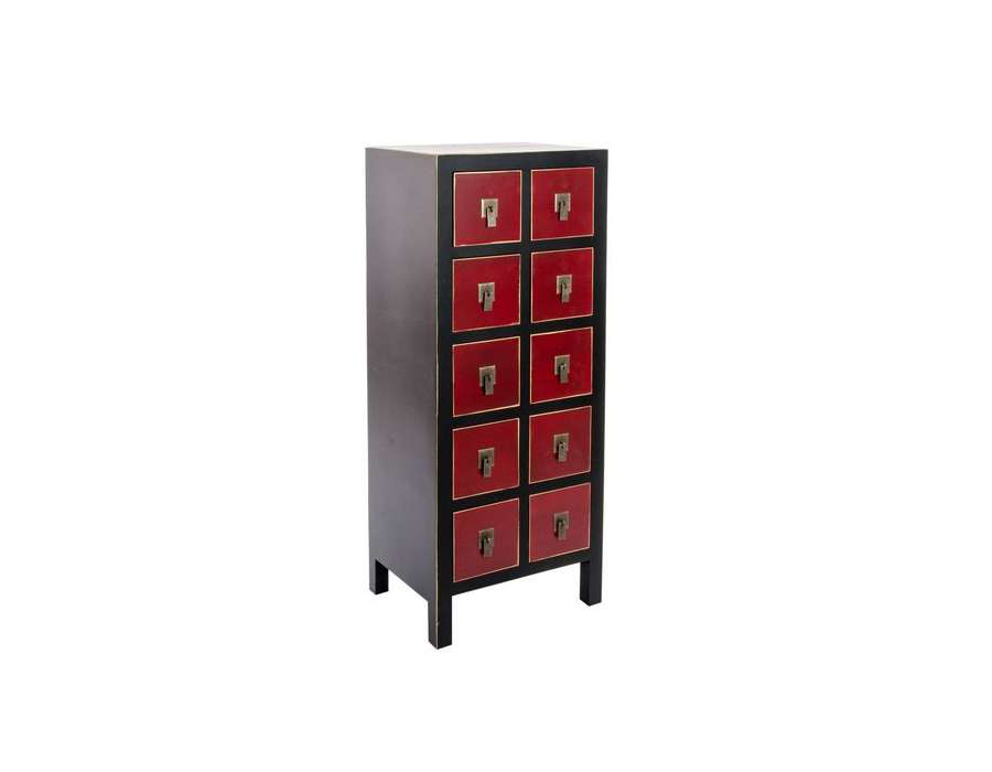 chiffonnier japonais meuble chinois noir et rouge. Black Bedroom Furniture Sets. Home Design Ideas