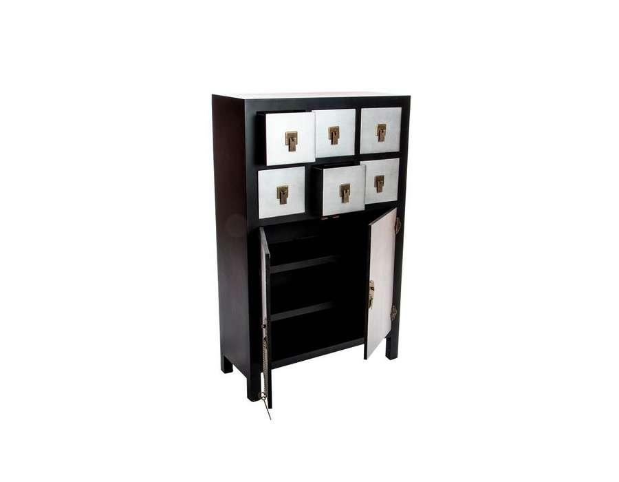 meuble de rangement japonais meuble noir et argent