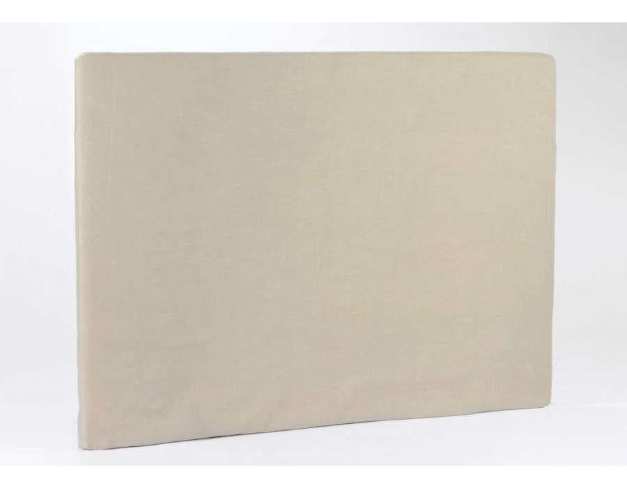 housse de t te de lit beige velours de 160 cm. Black Bedroom Furniture Sets. Home Design Ideas